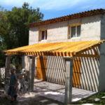 Auvent de terrasse en bois