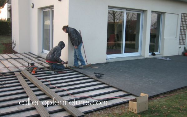 Pose terrasse composite sur dalle beton awesome autres for Pose lambourde terrasse bois