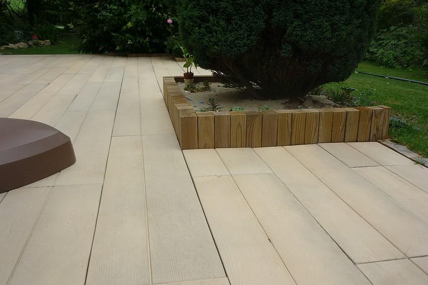 terrasse beton imitation bois