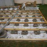 Terrasse bois plot beton